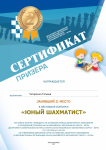 "Сертификат призёра 2 место фестиваль ""Юный шахматист"""